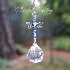 Light Blue Dragonfly Crystal Suncatcher by JGBeadedJewelry on Etsy, $15.00