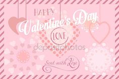 Valentines Day or Wedding Day greeting card hearts, festive pink hand made background Vector template. Romantic poster. Love, Romance Event, banner, e-card, Typography postcard envelope. Advertising, Calligraphy retro design — Stock Vector © sofiartmedia.gmail.com #140597422