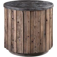 Stone Top Slate Wood Accent Table - Belle Escape
