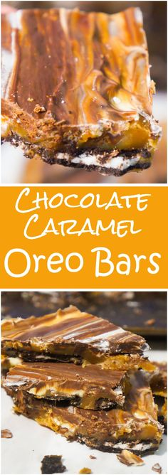 Chocolate Caramel Oreo Bars are an easy decadent recipe using Oreo Thins cookies. The Oreos are topped with creamy caramel and a mixture of semi-sweet and white chocolate. These delicious chocolate caramel squares are a great Christmas dessert recipe. Köstliche Desserts, Best Dessert Recipes, Sweet Recipes, Delicious Desserts, Yummy Food, Simple Recipes, Oreo Bars, Dessert Party, Appetizer Dessert