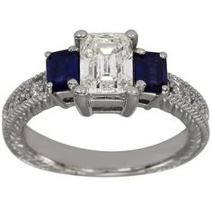 Vintage Emerald Cut Engagement Ring Setting With Emerald Cut Sapphires by Dacarli on Etsy https://www.etsy.com/listing/230666776/vintage-emerald-cut-engagement-ring