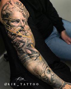 Tattoo work by Kir Tattoo – Tattoos – Cozy Places Zeus Tattoo, Statue Tattoo, Poseidon Tattoo, Galaxy Tattoo Sleeve, Lion Tattoo Sleeves, Arm Sleeve Tattoos, Tattoo Sleeve Designs, Half Sleeve Tattoos For Men, Tattoo Manche