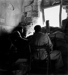 "Robert Capa - Jerusalem. June 9th, 1948. Members of the Israeli government forces, the Haganah, in a building surrounding the ""old city"", held by the Arabs."