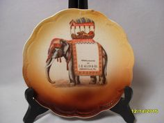 Fantastic Antique Advertising Small Plate with Riding or Circus Elephant