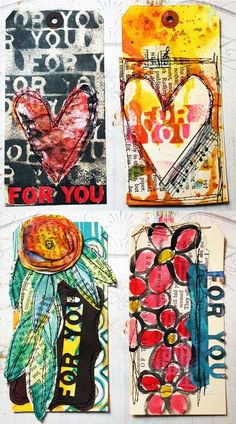 4Tags-sm  Balzer Designs --- These mixed media tags are incredibly beautiful!!! <3  I hope to reach this level (consistently) eventually :)