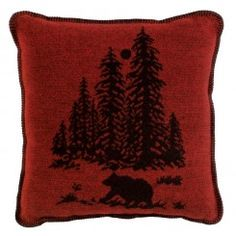 "Wooded River Bear Decorative Throw Pillow - 20"" x 20"""