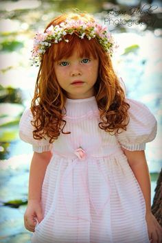 Redhead, gorgeous, pink, child, girl, blue eyes, flowers
