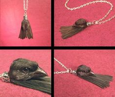 10 Shockingly Creepy Pieces of Taxidermy Jewelry - Oddee Feather Necklaces, Tassel Necklace, Phesant Feathers, Taxidermy Jewelry, Weird Jewelry, Jewlery, Aesthetic Design, Victorian Steampunk, Halloween Crafts