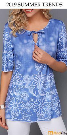 Tops For Women Bowknot Detail Keyhole Neckline Flower Print Blouse Trendy Tops For Women, Blouses For Women, Women's Blouses, Stylish Tops, Vestidos Nancy, Blouse Online, Shirts Online, Tops Online, Moda Casual