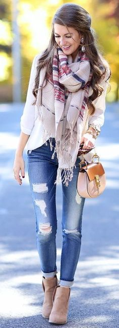 aztec scarf + cardigan + white tunic + wedge booties