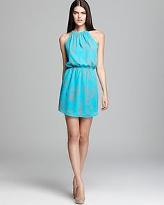 Aqua Halter Dress - Printed with Faux Leather Neck | Bloomingdale's