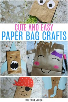 These paper bag crafts for kids are all super simple to make. Including paper bag puppets and paper bag crafts to help with scissor skills.