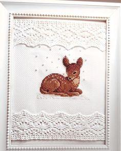 Cross stitch bambi Cross Stitch Quotes, Cross Stitch Letters, Mini Cross Stitch, Cross Stitch Borders, Cross Stitch Animals, Cross Stitching, Cross Stitch Embroidery, Cross Stitch Finishing, Stitch Patterns