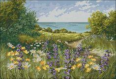 "Cross-stitch design "" Clifftop Footpath by Mary Dipnall ""   Cross-Stitch Club"