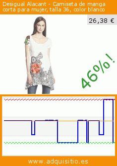 Desigual Alacant - Camiseta de manga corta para mujer, talla 36, color blanco (Ropa). Baja 46.163265306122%! Precio actual 26,38 €, el precio anterior fue de 49,00 €. https://www.adquisitio.es/desigual/alacant-camiseta-manga-5