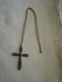 Neat Vintage Turquoise Look Cross Necklace by ART. $18.00, via Etsy.