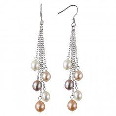 Multi-color Cultured Pearl Sterling Silver Dangle Earrings