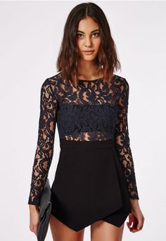 Lace Skort Playsuit Black - Playsuits - Missguided | Ireland