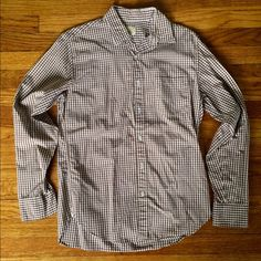 Men's Long Sleeve Button Down Men's small brown gingham long sleeve button down in good used condition. J. Crew Tops Button Down Shirts