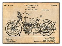 1928 Harley Davidson Motorcycle HD V Twin Patent Print Art Drawing Poster   eBay