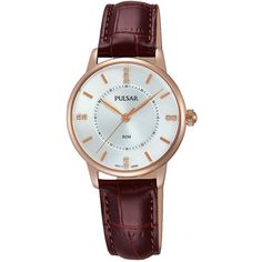 Pulsar Pulsar Silver Tone Sunray Dial Rose Tone Case Brown Leather... (6.025 RUB) ❤ liked on Polyvore featuring jewelry, watches, silvertone jewelry, rose watches, leather watches, pink face watches and leather-strap watches
