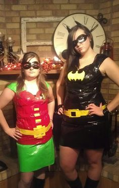 Batman and Robin costumes made from duct tape!