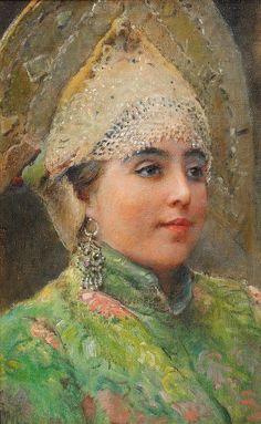 "of Konstantin Makovsky art Russian Beauty"" Russian Folk, Russian Art, Russian Style, Salon Art, Russian Culture, Ukrainian Art, Russian Beauty, Antique Paint, Traditional Paintings"