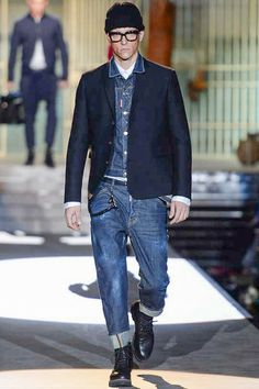 Dsquared 2 - Fall 2014 / A strong denim look, including a suit jacket matched with roomy rolled-up jeans. Watch the full runway here http://www.youtube.com/watch?v=KizVay7xscw