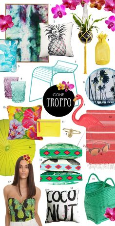 Our extremely creative senior exhibition coordinator Flyn Roberts also extends her talents to the blogging world via Paper Social. Today she applies her keen eye toward trends in the colourful idealistic realm of tropical decor. And what an extensive representation she has for us