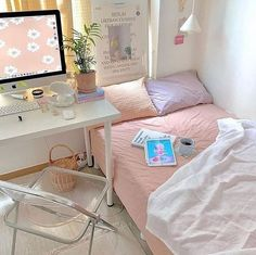Room Design Bedroom, Room Ideas Bedroom, Bedroom Decor, Bedroom Inspo, Korean Bedroom Ideas, Study Room Decor, Cute Room Decor, Pastel Room Decor, Pastel Bedroom