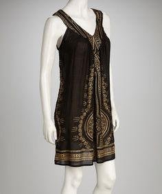 Take a look at this Black & Gold Dress by Leeny on #zulily today! $14