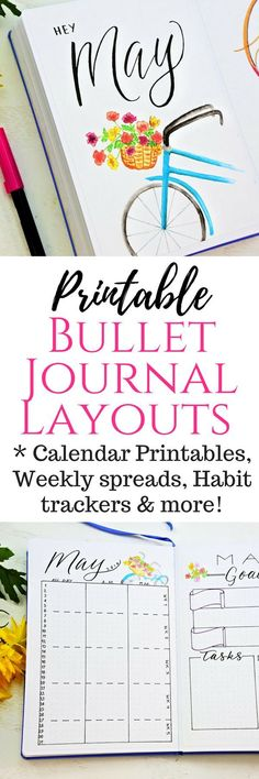 Printable Bullet Jouranl spreads for May including printable Calendar, Weekly layouts, Habit tracker, Mood tracker, Bullet journal collections, etc. #bulletjournaling
