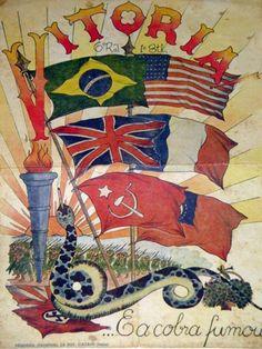 Brazil Poster celebrate Victory Day - WW II is OVER Cartaz Vitória dos Aliados
