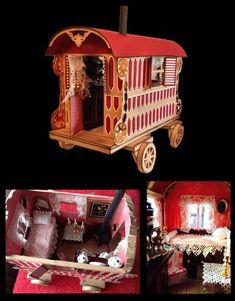 3d Romany Gypsy Caravan cut from 12x12 inc interior and box