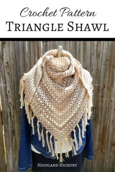 Crochet the Cappuccino Triangle Shawl with this free pattern. It's light enough for summer, yet heavy enough for the other three seasons too! Easy pattern.