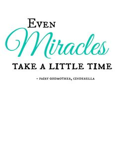 Even Miracles Take A Little Time - need a wall vinyl that says this, obvi.