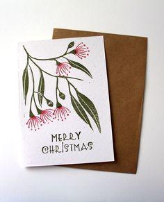 Christmas card, Australian xmas card, flowering gum card, hand printed card, block printed card, linoprint card, Xmas card, greeting card by LittleRowanRedhead on Etsy