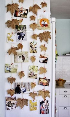 Creative DIY Craft Projects with Fall Leaves --> Autumn Leaf Photo Wall Fall Room Decor, Diy And Crafts, Crafts For Kids, Autumn Crafts, Diy Décoration, Fall Diy, Fall Halloween, Halloween Pics, Fun Projects