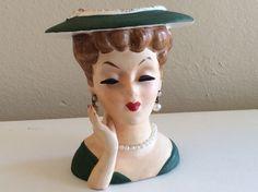 Vintage Japan Lady Head Vase by TheVelvetFlea on Etsy