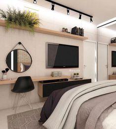 58 best minimalist bedroom design you must try 1 Tv In Bedroom, Woman Bedroom, Home Decor Bedroom, Modern Bedroom, Living Room Decor, Master Bedroom, Contemporary Bedroom, Bedroom Curtains, Bedroom Wardrobe