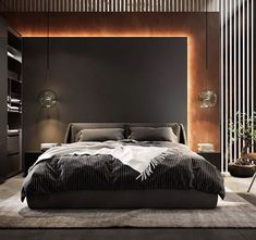 Pin by Harvey Houle on Bedroom bed design in 2020 (With images) Luxury Bedroom Design, Master Bedroom Interior, Modern Master Bedroom, Home Room Design, Master Bedroom Design, Luxury Interior Design, Minimalist Bedroom, Dark Romantic Bedroom, Modern Bedroom Lighting