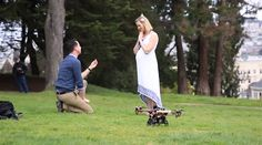 There are many ways how to use quadcopters. This one, for example, took part in unusual engagement and delivered the ring. Congratulations!