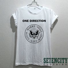 one direction shirt 1D Pop Rock White t-shirt printed black unisex... ($16) ❤ liked on Polyvore featuring tops, t-shirts, shirts, white shirt, unisex t shirts, rock t shirts, unisex shirts and rock shirts