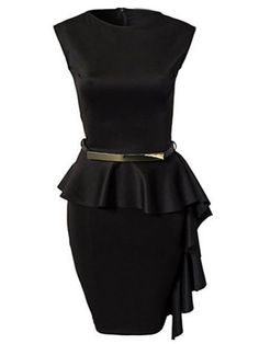 Charming  Round Neck Cotton Falbala Bodycon-dress Bodycon Dress from fashionmia.com