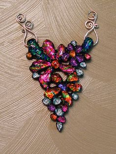 Hand sculpted floral fused dichroic glass focal by ChrysalisDreams, $95.00