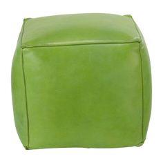 Pouf quadrato in pelle verde. Ottimo per la mia sala!