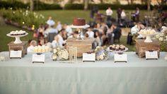 rustic vintage brown beige cream wedding dessert table