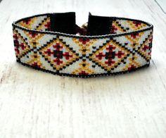 Loom Beaded Bracelet Aztec Bracelet Loom by SKBeadedJewelry Loom Bracelet Patterns, Seed Bead Patterns, Bead Loom Bracelets, Woven Bracelets, Beading Patterns, Beaded Choker Necklace, Beaded Jewelry, Bead Loom Designs, Bohemian Style Jewelry