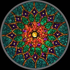 Stained glass mosaic mandala                                                                                                                                                                                 Más