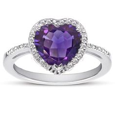 ApplesofGold.com - 1.70 Carat Heart-Shaped Amethyst and Diamond Halo Ring in Sterling Silver, $165